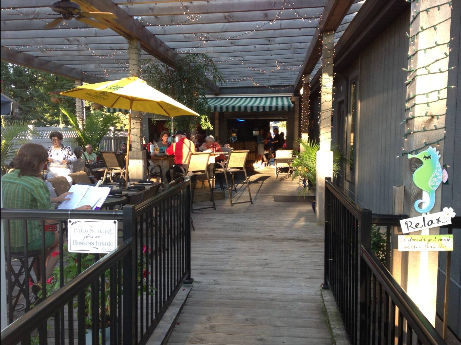 An image of people eating at the outdoor patio