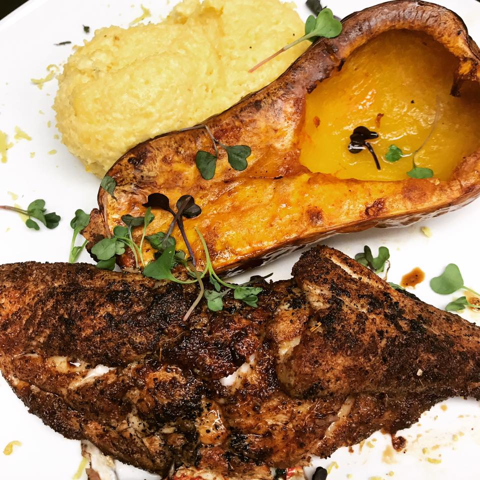 An image of the cajun blackened red snapper dish